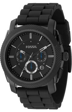 Fossil Men's FS4487 Black Silicone Bracelet Black Analog Dial Chronograph Watch < $87.51> Fossil Watch Men