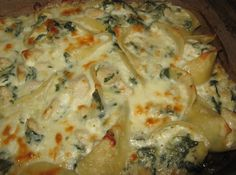 Pasta Shells stuffed with Chicken, Spinach and Mozzarella & Cottage Cheese.  OMGawd! I made this last night...it was divine...I was told I have a gift!