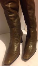 COLE HAAN Women's Olive Green Slip-On Leather Knee High Boots - Size 8.5AA