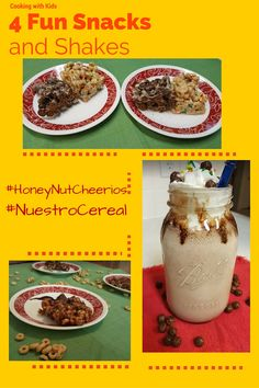 Fun and easy ideas to get cooking with kids. Try these four snacks and shakes with your children. #HoneyNutCheerios #NuestroCereal