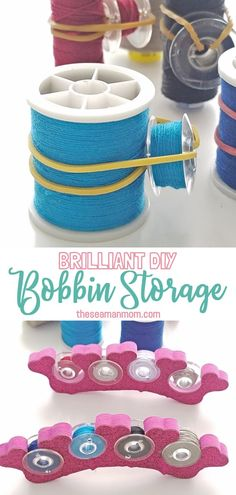 Sewing tips 411375747215553355 - Always looking for inspiring ideas for thread and bobbin storage? Storing and organizing your spools and bobbins doesn't have to cost you a thing when you make these bobbin storage ideas yourself! Sewing Hacks, Sewing Tutorials, Sewing Crafts, Sewing Tips, Organizing Sewing Rooms, Sewing Room Storage, Bobbin Storage, Leftover Fabric, Sewing Projects For Beginners