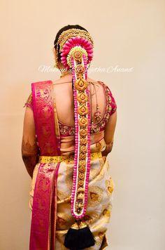 Traditional Southern Indian bride's bridal braid hair. Hairstyle by Vejetha for Swank Studio. Silk Saree. Sari Blouse Design. Hair Accessories. Temple jewelry. Jhumkis. Silk Kanjeevaram sari. Braid with fresh flowers. Tamil bride. Telugu bride. Kannada bride. Hindu bride. Malayalee bride. Find us at https://www.facebook.com/SwankStudioBangalore