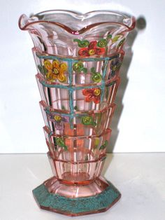 RARE HAND PAINTED Tea Room Indiana Depression Glass VASE