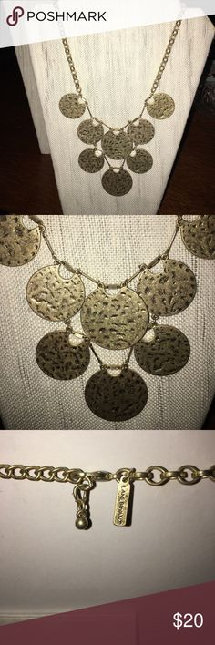 Grecian Disc Bib Necklace Hammered gold/bronze Grecian style disc bob necklace. Purchased at Lane Bryant. Never worn. Excellent Condition. Lane Bryant Jewelry Necklaces