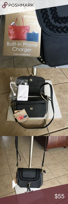 Cross body purse Black and gold sued cross body purse with built in phone charger new with tag Francesca's Collections Bags Shoulder Bags Phone Chargers, Francesca's Collections, Cross Body, Shoulder Bags, Purses, Gold, Black, Handbags, Black People