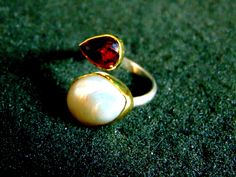 Silver and Gold Ring,Sterling Silver 18k Gold Statement Ring,Pearl and Pink Tourmaline Gemstone Ring,Womens Rings,Gift Idea ,Artisan Jewelry by ArchipelagosBreeze on Etsy