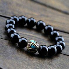 Handmade Bracelet Men's Bracelet Black Onyx by EchosHealingStones
