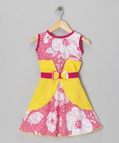 Take a look at this Fuchsia & Yellow Floral Bow Dress - Toddler & Girls by Little Miss Fashion on #zulily today!