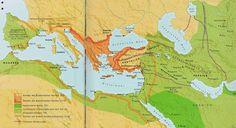 """Zum Vergrößern auf das Bild klicken. Auf dieser Karte aus dem Buch """"Die Kreuzzüge"""" von Angus Konstam (Tosa Verlag) ist die rasche Ausbreitung des Islam dargestellt. Die Eroberung von Anatolien (heute Türkei) durch die Seldschukischen Türken ab 1071 war die eigentliche Ursache für die Kreuzzüge. Weil das Heer des Kaisers in Konstantinopel zu schwach war bat er den Papst in Rom und das fränkische Königreich um Hilfe."""