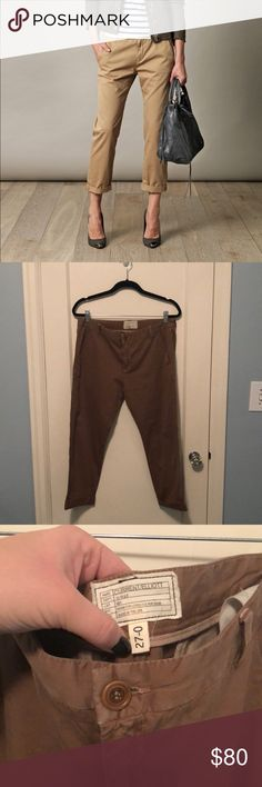 Current Elliott The Caption Trouser Color: Tabacco destroy Cropped slouchy twill pant!  In great condition! Current/Elliott Pants Trousers