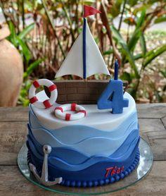 Festa Marinheiro: mehr als 50 Ideen – Inspire sua Festa ® - Obst Nautical Birthday Cakes, Nautical Cake, Baby Birthday Cakes, Baby Boy Cakes, Cakes For Boys, Baby Shower Cakes, Sailor Birthday, Sailor Party, Sailor Cake