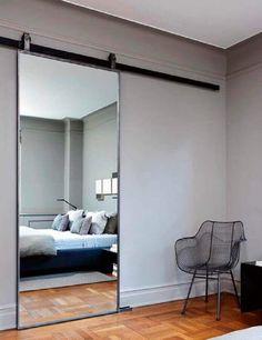 Mirrored bedroom barn door Bedroom Mirror Designs That Reflect Personality Sliding mirror Bedroom Barn Door, Home Bedroom, Bedroom Wall, Mirrored Bedroom, Bedroom Mirrors, Wall Mirrors, Bedroom Modern, Bedroom Lighting, Trendy Bedroom