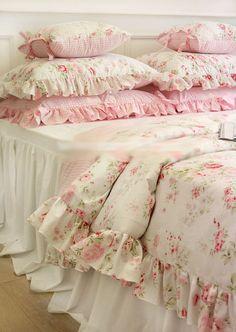 Shabby Chic Cottage Floral Quilt Duvet Cover Pillow Case Set White Pink Queen