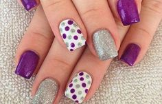 Gel Nail Designs You Should Try Out – Your Beautiful Nails Sparkle Nail Designs, Sparkle Nails, Short Nail Designs, Nail Art Designs, Nails Design, Dot Nail Art, Polka Dot Nails, Polka Dots, Cute Acrylic Nails