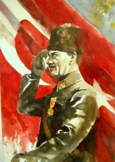 The Founder of Türkiye Mustafa Kemal Atatürk Rezzan Yildiz Artist&Painter Oil Painting Pictures, Great Leaders, Watercolor Paintings, Watercolour, Art Drawings, Arts And Crafts, Sketches, History, Artist