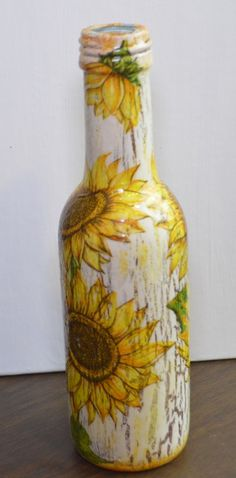 Decoupage Wine Bottle/Sunflowers and Crackle