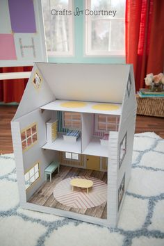 DIY: cardboard box dollhouse #Kids #Paper #Toy