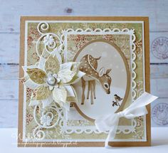 Card by DT member Wybrich with Craftables Basic Rectangle (CR1334), Punch Die Flowers (CR1323), Creatables Poinsettia (LR0122) and Flower Mirror (LR0322) by Marianne Design