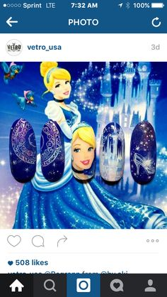 Cinderella Nails, Disney Nails, Wedding, Nail Manicure, Fingernail Designs, Valentines Day Weddings, Disney Inspired Nails, Weddings, Marriage