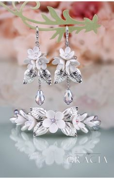 BIA Flower Silver Crystal Bridal Jewelery Set Bracelet and Earrings   #topgraciawedding #bridalhairaccessories #weddingheadband