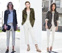 Casual chic style: produções com calça branca e parka militar