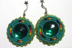 Native American Navajo Green Beaded Medallion Dangle Earrings only $16