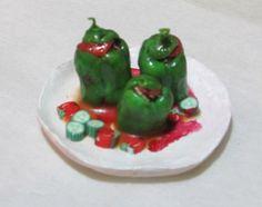 Minyatür Biber Dolmaları, minyatür yemek, miniature food, polimer kil, polymer clay