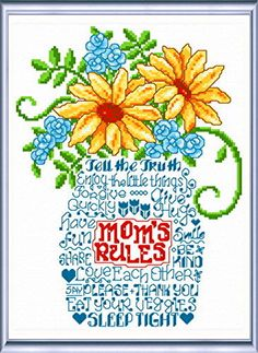 Lets Listen to Mom 'Words' cross stitch pattern designed by Ursula Michael,