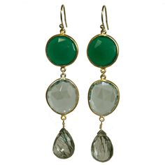 Margaret Elizabeth green onyx drop earrings.