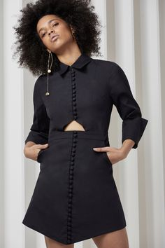 C/MEO COLLECTIVE LET IT GO LONG SLEEVE SHIRTING DRESS black
