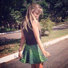 Saia Neoprene Verde Evasé Alle Röcke