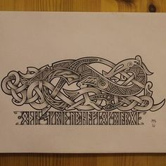Dragon in Urnes style with a tiny touch of Mammen style is finally finished, i hope you'll enjoy it, my friends :) The runes say the… Norse Tattoo, Tattoo On, Celtic Tattoos, Viking Tattoos, Viking Dragon, Celtic Dragon, Celtic Art, Viking Designs, Celtic Designs
