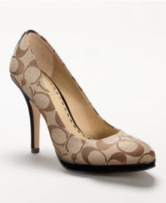 Coach Caya Heel A shapely, sophisticated platform pump in textured signature fabric with a touch of patent trim. New Shoes, Pump Shoes, Shoe Boots, Shoes Heels, Pumps, Stilettos, Divas, Coach Boots, Me Too Shoes