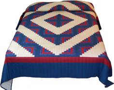 Almost Amish Queen Barn Raising Variation of Log Cabin Quilt in Cobalt & Cherry