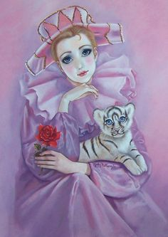 Pierrot and tiger cub Art Violet, Purple Art, Illustrations, Illustration Art, Pierrot Clown, Watercolor Deer, Saint Yves, Creation Photo, Fantasy Life