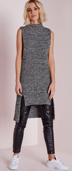 You'll look knit hot in this chunky sleeveless jumper this season. In a dreamy grey tone, this super soft knit is a major trend player. Featuring a drop hem and funnel neck finish, we're styling with a pair of faux leather pants and white p. Sweater Knitting Patterns, Knit Patterns, Knit Fashion, Womens Fashion, Crochet Clothes, Pulls, Knit Dress, Casual Looks, Knitwear