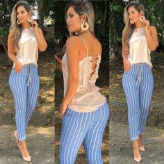 Swans Style is the top online fashion store for women. Shop sexy club dresses, jeans, shoes, bodysuits, skirts and more. Summer Fashion Outfits, Cute Fashion, Spring Outfits, Womens Fashion, Pretty Outfits, Cool Outfits, Casual Outfits, Stripped Pants, Indian Fashion Trends