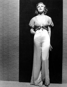 Ginger Rogers: I searched for Orry-Kelly costumes. Here, puffy sleeves, delicate embroidery, & lace detailing on the pant bottoms! Hollywood Fashion, Vintage Hollywood, Hollywood Glamour, Classic Hollywood, Hollywood Stars, Hollywood Actresses, Ginger Rogers, Katharine Hepburn, Fred Astaire
