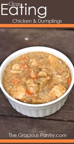 Everyone has recipes from their childhood that they absolutely love, and chicken and dumplings usually makes the list. This Clean Eating Chicken and Dumplings transforms the classic soup into a healthy dinner option. Crock Pot Recipes, Clean Eating Recipes, Slow Cooker Recipes, Healthy Eating, Cooking Recipes, Healthy Recipes, Healthy Soups, Soup Recipes, Healthy Food