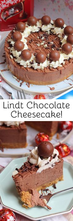 A delicious no-bake Lindt chocolate cheesecake with Lindt Lindor truffles and a Lindt chocolate drizzle! A delicious no-bake Lindt chocolate cheesecake with Lindt Lindor truffles and a Lindt chocolate drizzle! Easy Vanilla Cake Recipe, Chocolate Cake Recipe Easy, Baked Cheesecake Recipe, Chocolate Cookie Recipes, Chocolate Cheesecake, Chocolate Chip Cookies, Homemade Cheesecake, Cheesecake Brownies, Cheesecake Desserts