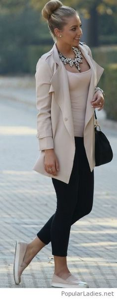 Nude and black look, love the bun design