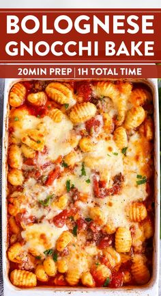 This Bolognese Gnocchi Bake is my number one emergency meal. Once the beef is browned all that's left to do is stirring everything together in the casserole dish then bake. This is such a quick prep kid-friendly meal - perfect for those extra busy nights! Baked Gnocchi, Gnocchi Recipes, Gnocchi Dishes, Pasta Recipes, Italian Dishes, Italian Recipes, Casserole Dishes, Italian Foods, Healthy Recipes