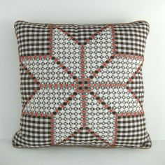 Vintage Chicken Scratch Star Pillow brown by prairiemusing on Etsy, $25.00