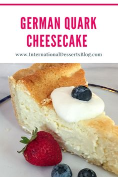 This easy & authentic German Cheesecake is so good! Make it with quark or cottage cheese, no sour cr German Cheesecake, Cheesecake Recipes, Quark Recipes, German Food Recipes, Homemade Cheesecake, Classic Cheesecake, French Recipes, Meal Recipes, Germany