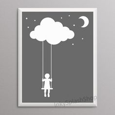 Whimsical Nursery wall art print with child silhouette on cloud swings by InkySplashShop. Gender neutral monochrome wall decor for modern kids room. Printable dreamy art poster.