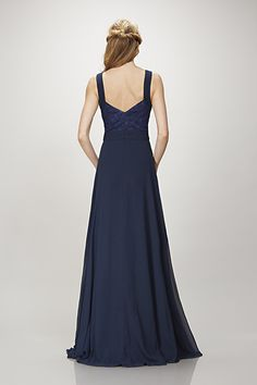 Clary - Sleeveless deep V-neck ruched bodice with lace insert chiffon gown