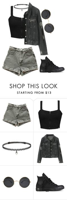 """""""..."""" by sleepingwithrazors ❤ liked on Polyvore featuring American Apparel, Element, BERRICLE and Converse"""