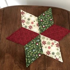 Snowflakes & Birds Quilted Large Star Candle Mat by seaquilt