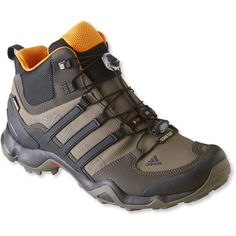 Adidas Men's Terrex Swift R Gore-Tex Hiking Boots ($160) ❤ liked on Polyvore featuring men's fashion, men's shoes, men's boots, adidas mens shoes, mens lightweight running shoes, mens breathable shoes, mens low cut boots and mens lightweight waterproof boots