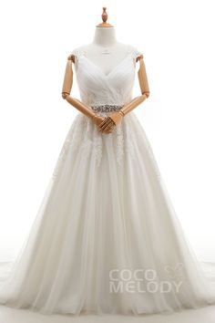 Luxurious A-Line V-Neck Natural Court Train Tulle Ivory Sleeveless Zipper With Buttons Plus Size Wedding Dress Appliques Sashes LD3371#Cocomeldy#Weddingdresses#Bridalgown#